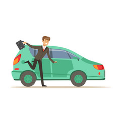 Hurrying man character running to his car vector