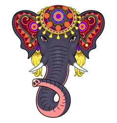 Indian elephant face vector