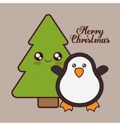 Kawaii penguin and pine tree of christmas season vector