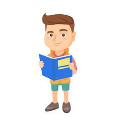 little caucasian schoolboy reading a book vector image vector image