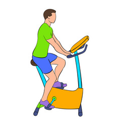 Man training on a stationary bike icon cartoon vector