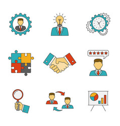 Management line flat icons vector