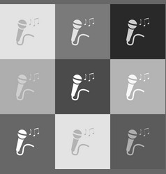 Microphone sign with music notes vector