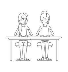 Monochrome silhouette of women sitting in desk one vector