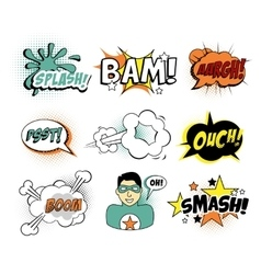 Set of comic text pop art style vector