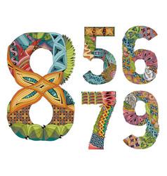 Set of numbers five six seven eight nine vector
