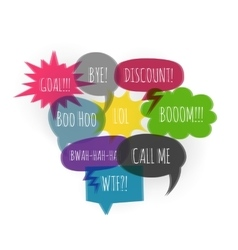 Text color collection speech bubble glitch style vector