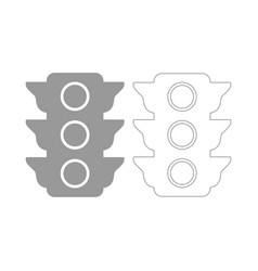 traffic light the grey set icon vector image vector image