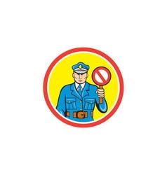 Traffic policeman stop hand signal cartoon vector