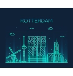 Warsaw skyline silhouette linear style vector