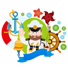 with the captain clipart on the sea theme vector image vector image