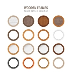 Wooden Round Frames Set vector image vector image