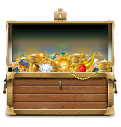 Wooden chest with gold vector