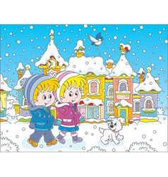 Children walking through a winter town vector