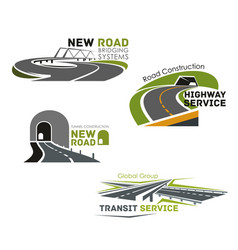 Road service bridge or tunneling icons vector