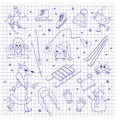Characters and objects on notebook sheet vector