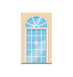 Double glass paned arched front doors closed vector