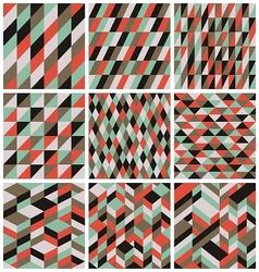 Set of 9 retro seamless patterns vector image