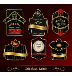Decorative dark gold frames labels vector