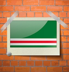 Flags chechen republic of ichke scotch taped to a vector