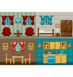 Four rooms vector