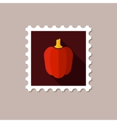 Pepper flat stamp with long shadow vector
