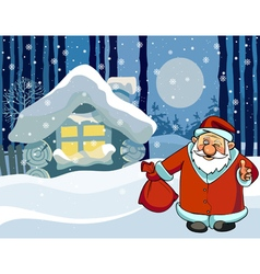 Cartoon santa claus standing near the hut vector