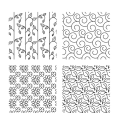 Flower leaves and floral seamless textures vector image