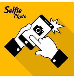 Selfie phone photo in yellow vector image