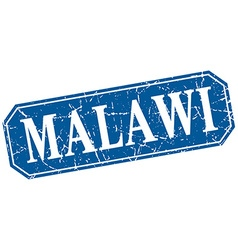Malawi blue square grunge retro style sign vector