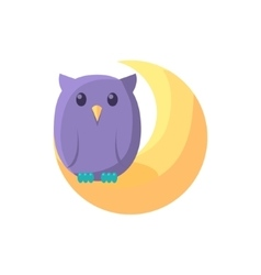 Owl sitting on crescent vector