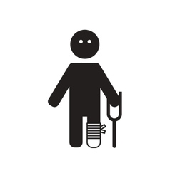 Flat icon in black and white style man with crutch vector