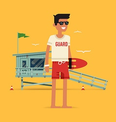 Young male life guard character vector