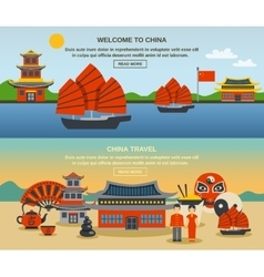 Chinese culture travel horizontal banners set vector