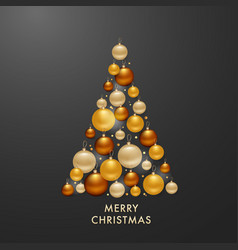 Christmas tree from golden balls background vector