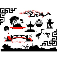 Collection of Asian Garden vector image