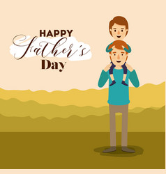 colorful background landscape with boy in vector image
