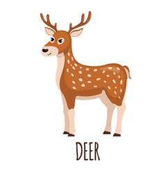 Cute deer in flat style vector