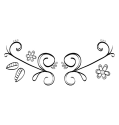 Decorative leaves in black and white vector