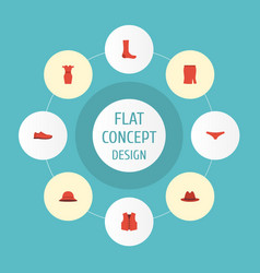 Flat icons hosiery fedora waistcoat and other vector