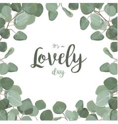 floral card design eucalyptus silver dollar vector image vector image