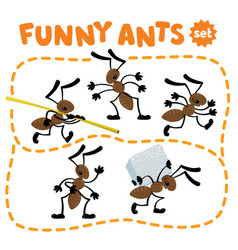 Funny small ants set children vector