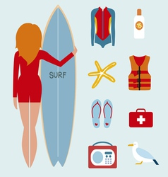 Girl surfer and style icons vector
