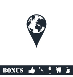 Globe pin icon flat vector