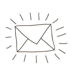 Hand drawing of contour envelope mail vector