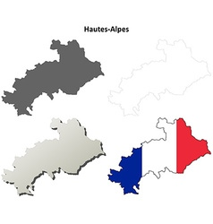 Hautes-alpes provence outline map set vector