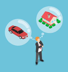 Isometric businessman dreaming about house and car vector