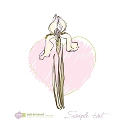 Light iris on a background of pink hearts vector image vector image