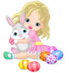 Little girl and easter bunny vector