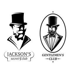 set logo templates for gentlemens club vector image vector image